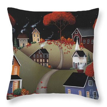 Wickford Village Halloween Ll Throw Pillow by Catherine Holman