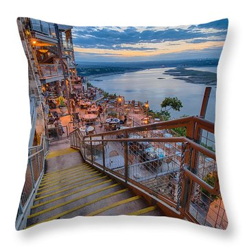 Wide Angle View Of The Oasis And Lake Travis - Austin Texas Throw Pillow