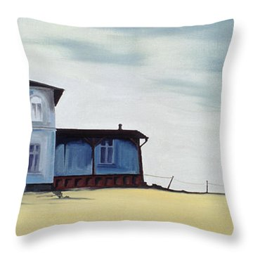 Wide Blue Throw Pillow