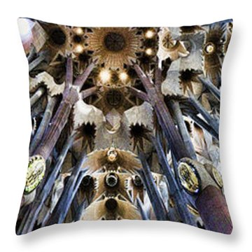Wide Panorama Of The Interior Ceiling Of Sagrada Familia In Barcelona Throw Pillow