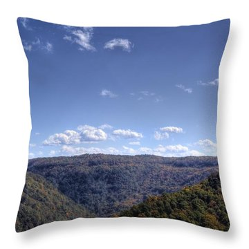 Wide Shot Of Tree Covered Hills Throw Pillow by Jonny D