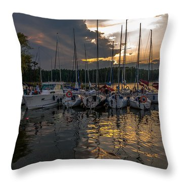 Wierzba Yacht Marina In The Afternoon Throw Pillow