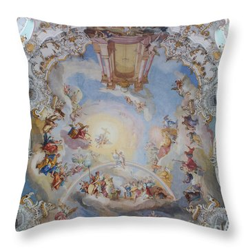 Wies Pilgrimage Church Bavaria Fresko Throw Pillow by Rudi Prott