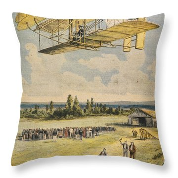 Wilbur Wright Airborne Throw Pillow by Mary Evans Picture Library