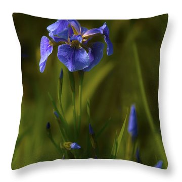 Wild Alaskan Iris Throw Pillow