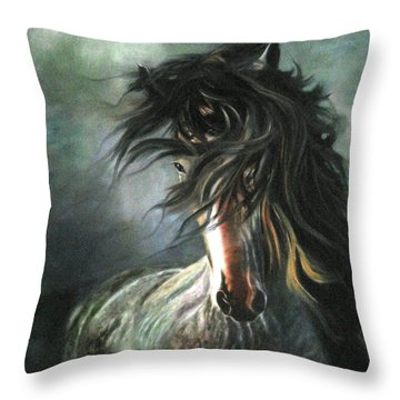 Throw Pillow featuring the painting Wild And Free by LaVonne Hand