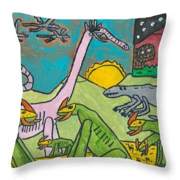 Throw Pillow featuring the painting Wild Beast by Artists With Autism Inc