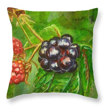 Wild Blackberries Throw Pillow