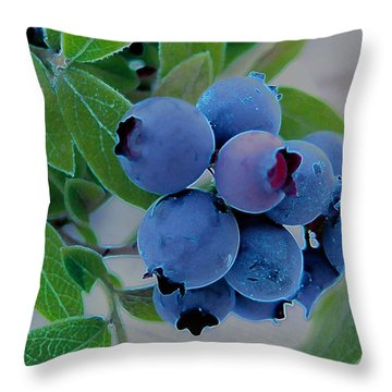 Wild  Blueberries Throw Pillow by Shirley Sirois