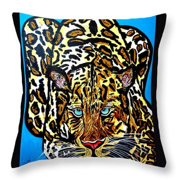 Throw Pillow featuring the painting Wild Cat by Nora Shepley