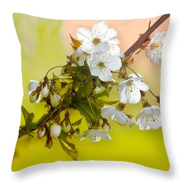 Wild Cherry Blossom Cluster Throw Pillow by Jane McIlroy