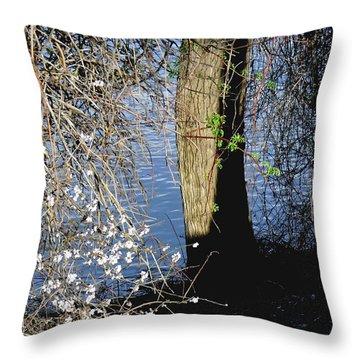 Wild Cherry Tree On The Sacramento River  Throw Pillow by Pamela Patch