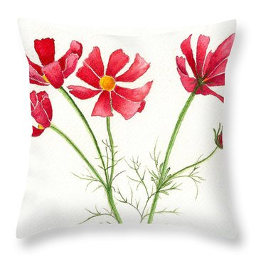 Throw Pillow featuring the painting Wild Cosmos by Nan Wright