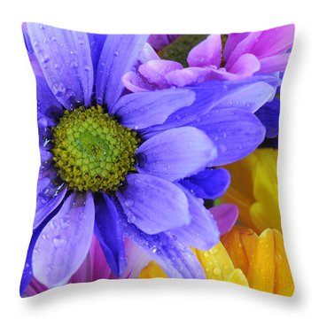 Wild Crazy Daisies 2 Throw Pillow
