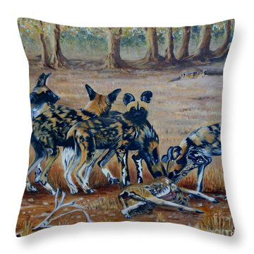 Wild Dogs After The Chase Throw Pillow by Caroline Street