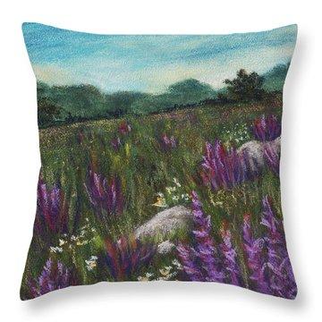 Wild Flower Field Throw Pillow by Anastasiya Malakhova