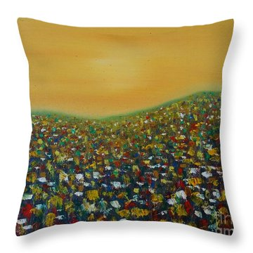 Wild Flower Field Throw Pillow