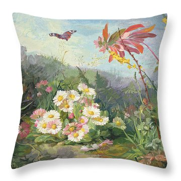 Wild Flowers And Butterfly Throw Pillow by Jean Marie Reignier