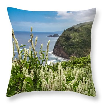 Wild Flowers At Pololu Throw Pillow by Denise Bird