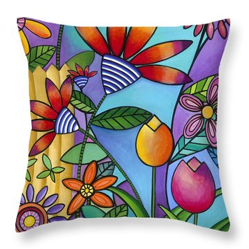 Wild Flowers Throw Pillow by Carla Bank