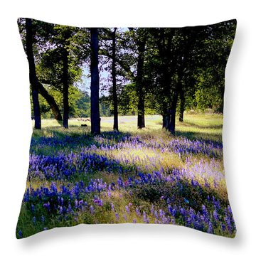 Throw Pillow featuring the photograph Wild Flowers In Forest by Irina Hays
