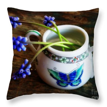 Wild Flowers In Sugar Bowl Throw Pillow