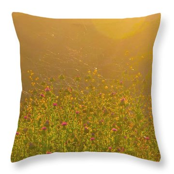 Wild Flowers With Webs Throw Pillow