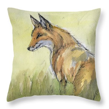 Wild Fox Watercolor Painting Throw Pillow by Angel  Tarantella