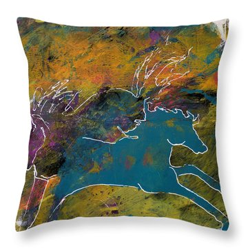 Throw Pillow featuring the painting Wild Horse Canyon by P Maure Bausch