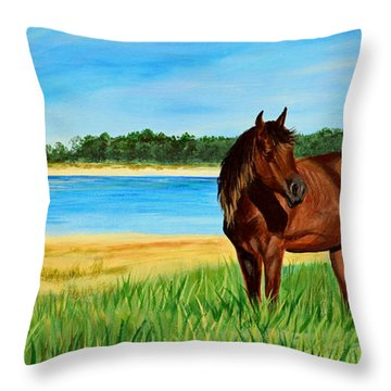 Wild Horse Near Cape Lookout Lighthouse Throw Pillow