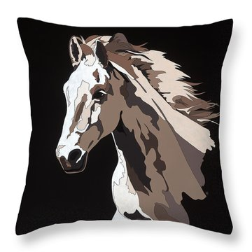 Wild Horse With Hidden Pictures Throw Pillow