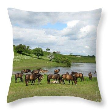 Throw Pillow featuring the photograph Wild Horses by Susanne Baumann