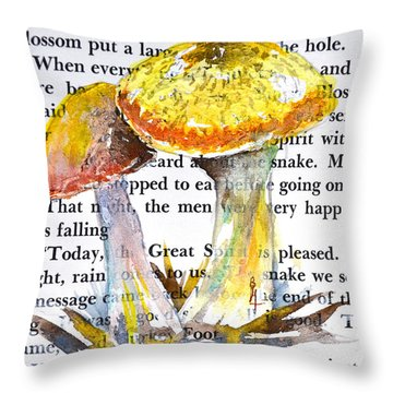 Wild Mushrooms Throw Pillow by Beverley Harper Tinsley