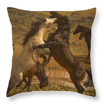 Wild Mustang Stallions - Signed Throw Pillow by J L Woody Wooden