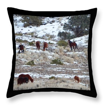Wild Mustangs In A Nevada Winter Throw Pillow