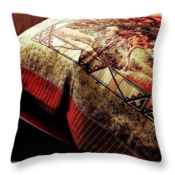 Wild Mustangs On A Quilt Throw Pillow by Barbara Griffin