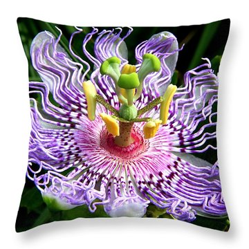Wild Passion Flower Throw Pillow