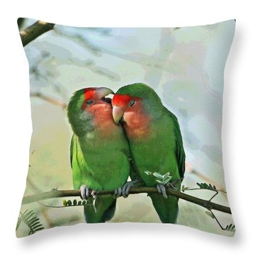 Wild Peach Face Love Bird Whispers Throw Pillow by Tom Janca