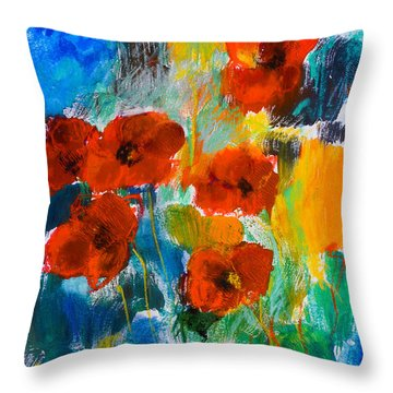 Wild Poppies Throw Pillow