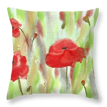 Wild Poppies Throw Pillow by Tracey Williams