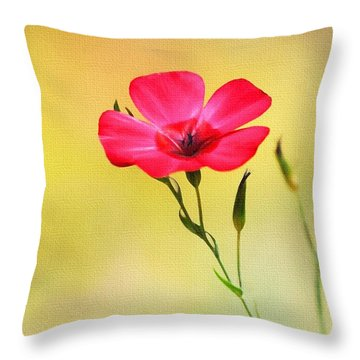 Wild Red Flower Throw Pillow by Tom Janca