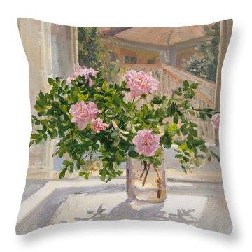 Wild Rose Throw Pillow by Victoria Kharchenko