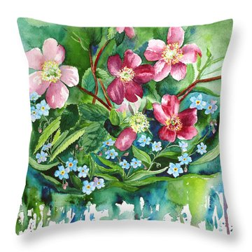 Wild Roses And Forget Me Nots Throw Pillow by Karen Mattson