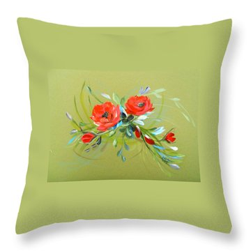 Wild Roses Branch Throw Pillow by Dorothy Maier