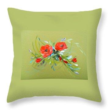 Wild Roses Branch Throw Pillow