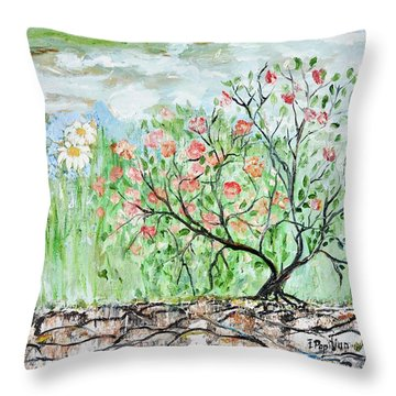 Throw Pillow featuring the painting Wild Roses by Evelina Popilian