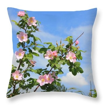 Wild Roses In June Throw Pillow by Jim Sauchyn