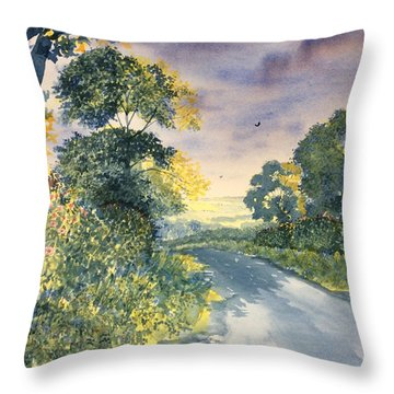 Wild Roses On The Wolds Throw Pillow