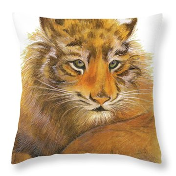 Throw Pillow featuring the painting Wild Tiger Cub by Nan Wright