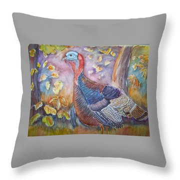 Wild Turkey In The Brush Throw Pillow